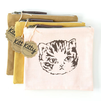Meow Deluxe Screen Printed Kitty Zipper Pouch | Peach, Ochre or Brown