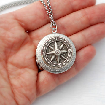 Silver Compass Locket Necklace, nautical vintage travel jewelry pendant message photo Birthday Graduation Anniversary