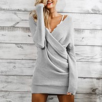 Simplee Drop Shoulder Surplice Neck Sweater Dress