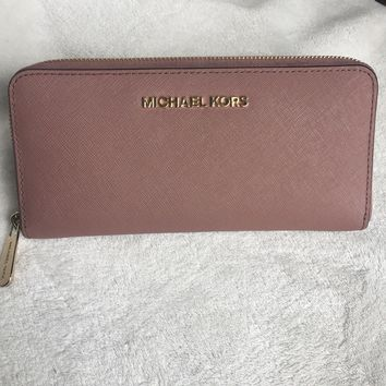 Michael Michael Kors Jet Set Travel Continental Dusty Rose Wallet