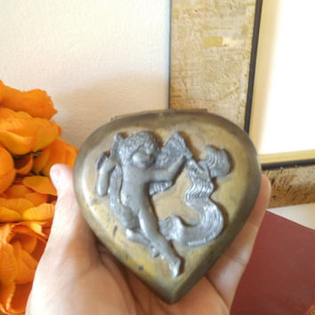 Vintage Brass and Pewter Cupid Cherub Heart hinged box ~ Wedding ~ Perfect RING Box ~ Keepsake