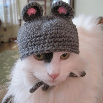 Pet Hat Mouse Beanie Cat Hat Photo Prop Gray  by Monarchdancer