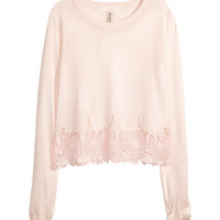 H&M - Fine-knit Lace Top - Light pink - Ladies
