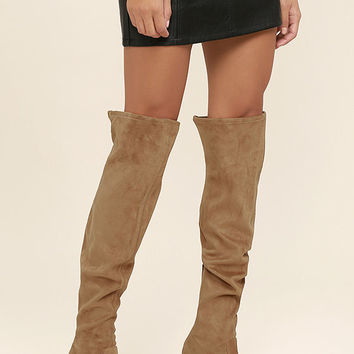 Steve Madden Emotions Camel Suede Over the Knee Boots