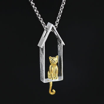 .925 sterling silver fashion  cat on window pendant necklace