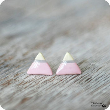 Post earrings - pastel triangle stud earrings - handmade jewelry