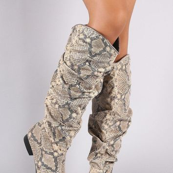Slouchy Snake Print Pointy Toe Western Knee High Boots