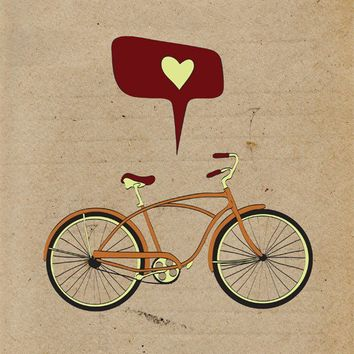 Bicycle Print Art, Giclee Print Bike Poster, Antique Bike Print, Retro Cycling Giclee Print, Vintage Digital Illustration Bicycle Decor