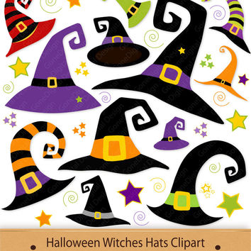 Halloween Witches Hats Clipart Witch Hat Clip Art Printable PDF Graphics Digital Images Decorations Stickers Green Orange Purple Cute PNG