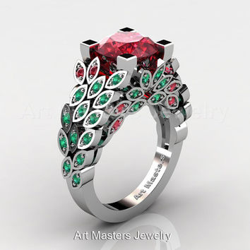 Art Masters Nature Inspired 14K White Gold 3.0 Ct Rubies Emerald Engagement Ring Wedding Ring R299-14KWGEMR