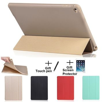 Opaque Soft Material Sleep Wake Up Holder Protective Cover Case for iPad Air 1 2 iPad 2017