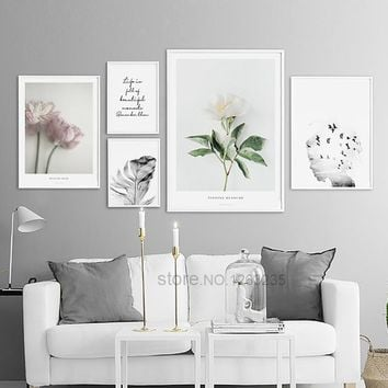 Nordic Poster Pink Flower Picture Posters And Prints Wall Pictures For Living Room Wall Art Canvas Painting Quadro Unframed