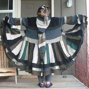Earth Tones Woodland Elf Coat, XL/XXL Unisex Upcycled Gypsy Sweater Jacket, Fun Fantasy Coat
