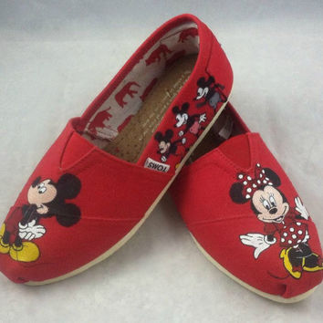 Custom Hand Painted Disney Mickey Mouse Toms Shoes, Hand Painted Minnie Mouse Canvas Sneakers