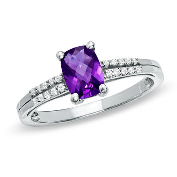Cushion-Cut Amethyst and White Topaz Accent Ring in Sterling Silver