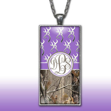 Camo Monogram Pendant Charm Necklace Purple Deer Head Personalized Country Girl Custom Initial Necklace, Monogram Jewelry