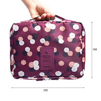 Pockettrip Clear Cosmetic Makeup Bag Toiletry Travel Kit Organizer New 2015 (Flower in Wine Red)