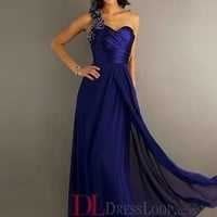 A-Line One Shoulder Chiffon Royal Blue Long Prom Dress/Evening Gowns With Beading VTC580