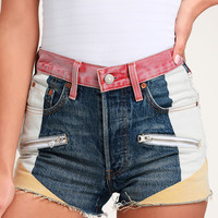 501 High Rise Medium Wash Color Block Denim Shorts