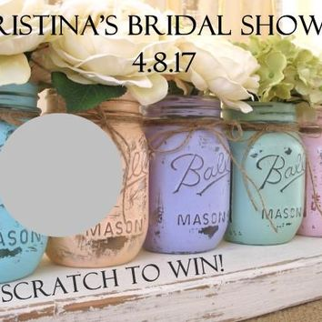 10 Mason Jar Shabby Chic Bridal Shower Scratch Off Game Card