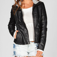 Others Follow Theresa Womens Hooded Faux Leather Jacket Black  In Sizes