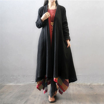 Women  autumn and winter plus size Loose Fitting cotton linen   coat