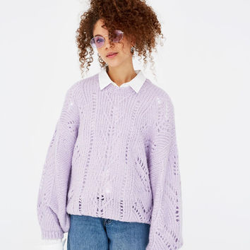 Open knit sweater with puff sleeves - New - Woman - PULL&BEAR Canary Islands