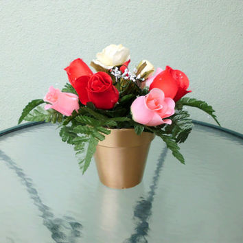 Silk Floral Arrangement, Valentine's Day Roses, Assorted Roses, Clay Pot (V7)
