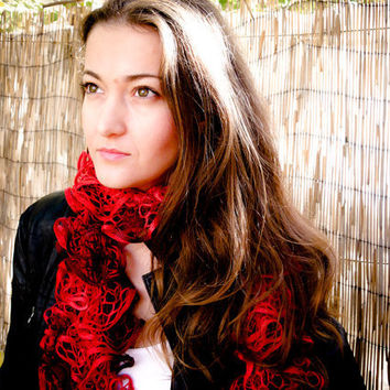 Carmen Shades of red lace ruffled scarf by Crochetaccessories4u