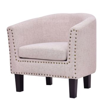 Modern Chair Accent Armchair  Fabric Rivets  with Cushion Wood