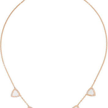Jacquie Aiche - 14-karat rose gold, aquamarine and diamond necklace