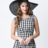 Retro Style Black & Clear Mesh Striped Floppy Hat