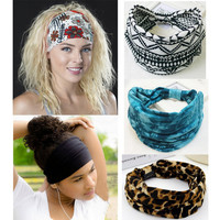 Bohemia BOHO Wide Cotton Stretch Sports Women Headbands Headpiece Headwrap Turban Headwear Bandage Hair Bands Bandana Fascinator