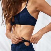 Aerie Eyelet Scoop Bikini Top, Navy