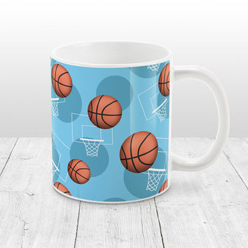 Light Blue Basketball Mug - Sports Themed Basketball Pattern on Light Blue - Basketball Coffee Mug - 11oz or 15oz - Made to Order