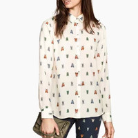White Patterned Long-Sleeve Buttons Collared Shirt