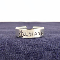 Always Ring - Harry Potter -  Deathly Hallows - Adjustable Aluminum Cuff Ring