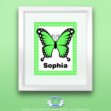 Personalized Children Butterfly Print Wall Art Green Swallowtail Butterfly Print, 8x10