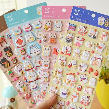 DIY Colorful cat 3D kawaii Stickers Diary Planner Journal Note Diary Paper Scrapbooking Albums PhotoTag