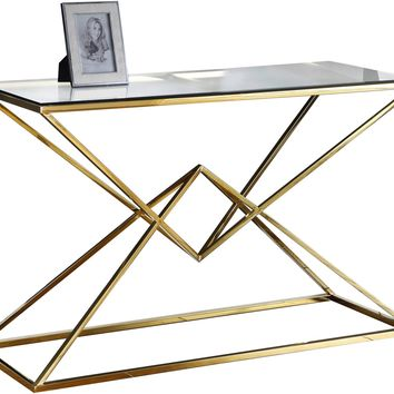 Vanessa Console Table Gold Stainless Steel Clear Glass Top
