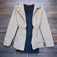 womens hooded utility parka jacket with drawstring waist in khaki