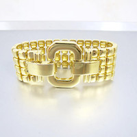 Joan Rivers Bracelet. Wide Gold Panther Link Buckle Bangle. Vintage Joan Rivers Jewelry