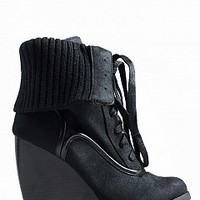 SUMMER-11-4 Sweater Wedge Booties Women Boots BLACK Bare Feet Shoes