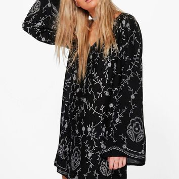 Madeleine Embroidered Shift Dress | Boohoo