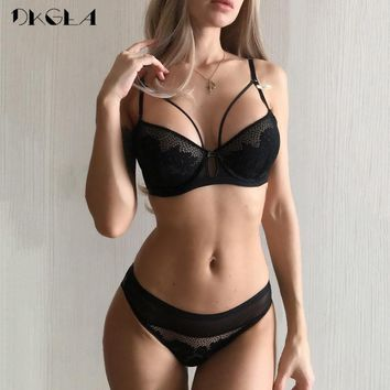 2019 New Green Lace Bra Set Women Lingerie Embroidery Thick Push Up Brassiere Cotton Underwear Set Sexy Bras Gather