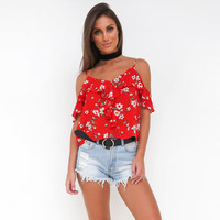 Bohemian casual chiffon blouses tops floral print V-neck off the shoulder short