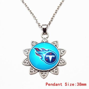 Sunflower Dangle Necklace USA Football Team Tennessee Titans Glass Pendant Necklace For Sports Fans Necklace DIY Jewelry