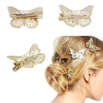 1Pair Golden Butterfly Hair Clip Headband Hair Accessories Headpiece#3546