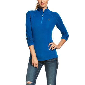 Ariat Ladies Cadence Wool 1/4 Zip Sweater - Rush of Blue