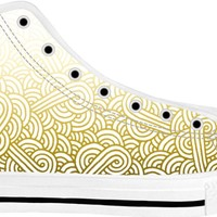 Gradient yellow and white swirls doodles White High Tops